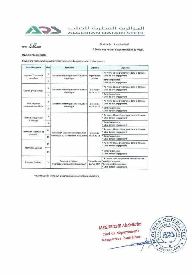 اعلان عن توظيف في الجزائرية القطرية للصلب--أكتوبر 2017
