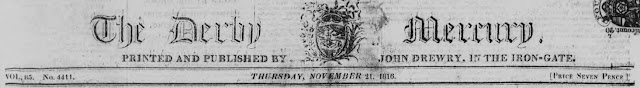 Derby Mercury newspaper masthead, 21 November 1816