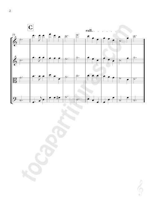 Noche de Paz Partitura para Cuarteto de Cuerda de Violín I, Violín II, Viola en Clave de Do y Violonchelo en Clave de Fa Silent Night Sheet Music for Strings Cuartet Violins, Viola and Cello Carol Christmas Song