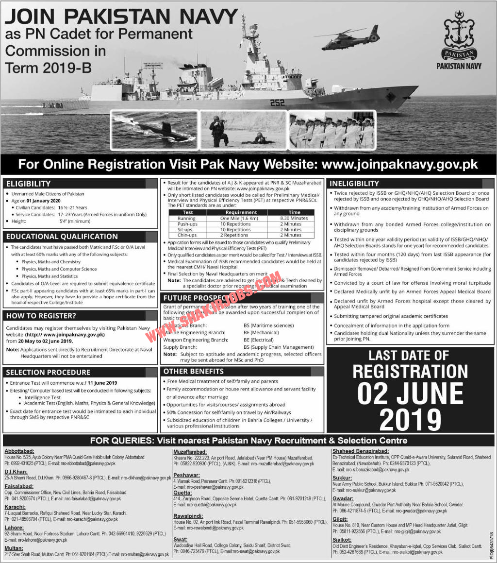 Pakistan Navy Permanent Commission jobs 2019
