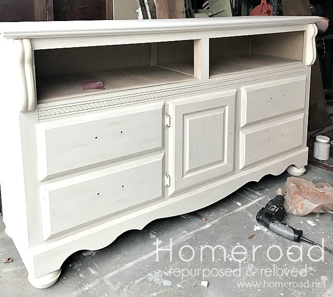 white found dresser turned tv stand