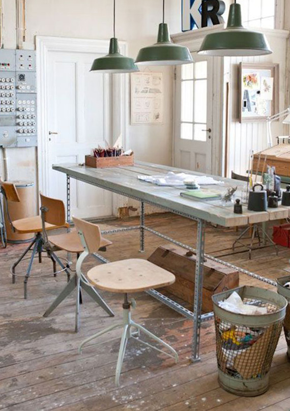 work spaces industrial vintage style