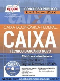 Apostila Caixa Técnico Bancário 2016 (atualizada) gratis cd pdf por downlaod, livro impresso e digital.