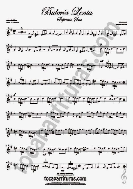 2  Bulería Lenta Partitura de Saxofón Soprano y Saxo Tenor Sheet Music for Soprano Sax and Tenor Saxophone Music Scores Flamenco