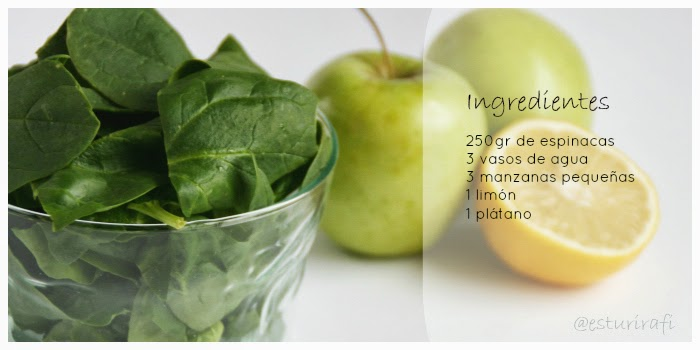 Ingredientes batido verde Esturirafi, green smoothie