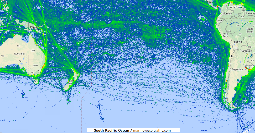 SOUTH PACIFIC OCEAN SHIP TRAFFIC TRACKER | Marine Vessel ... Pacific Ocean Underwater Map