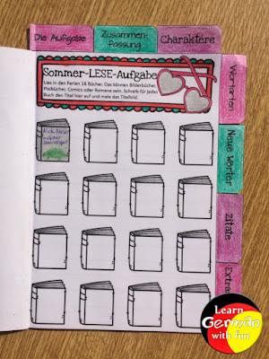 Grundschüler sollen 16 Kinderbücher lesen. Zu jedem Buch wird der Titel aufgeschrieben und ein kleines Buchcover gemalt.