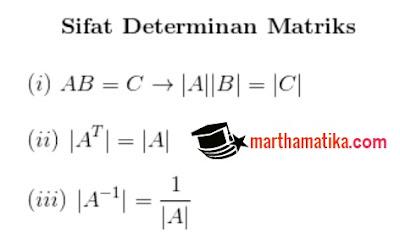 sifat determinan matriks