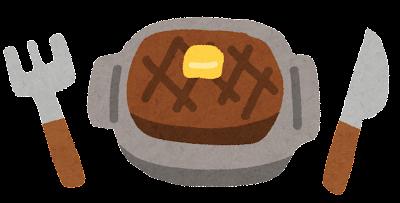 洋食のイラスト「ステーキとフォークとナイフ」