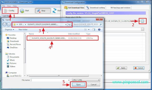 klik config untuk memasukkan firmware cpb luna g55 lite
