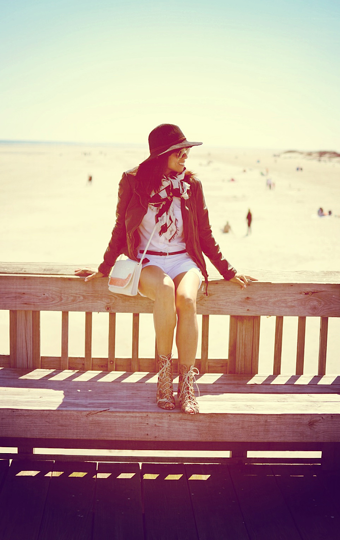 LEATHER JACKET AT THE BEACH