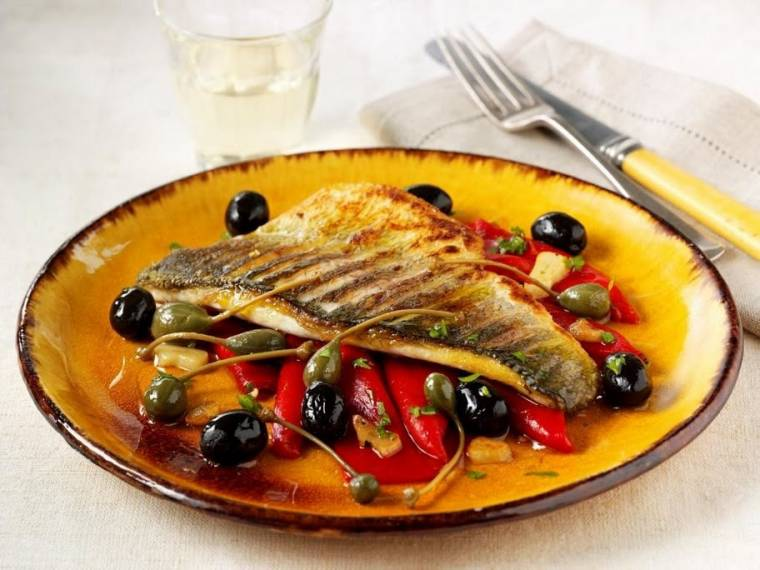 Lubina A La Sartén Con Aceitunas, Piquillos Y Fino (Pan-fried sea bass with Spanish olives, piquillo peppers and dry Sherry)