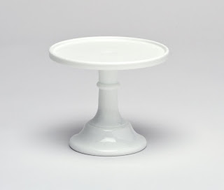 mosser glass white cake stand