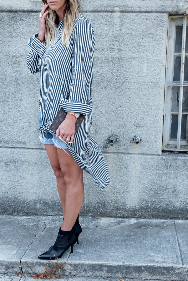striped duster button down top cutoffs booties parlor girl