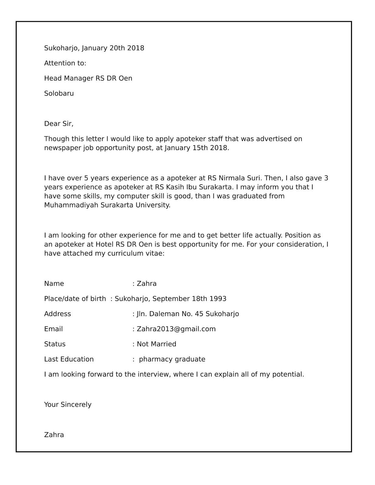 Contoh Surat Lamaran Kerja Cv Dalam Bahasa Inggris Best Resume Examples
