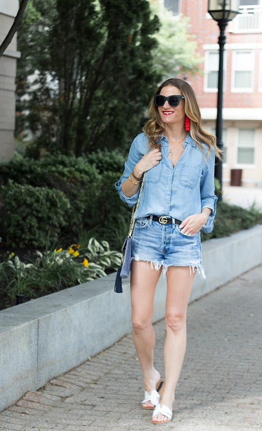 Denim on Denim With A Pop of Red
