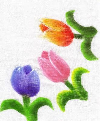pintura em fralda tulipas