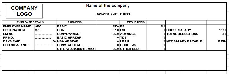Standard Payslip Template Payslip Template In Excel Best Standard