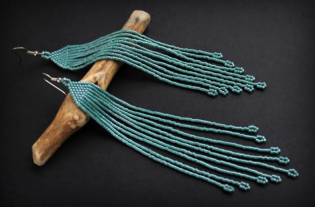 купить серьги цвета морской волны темно-бирюзовые серьги из бисера