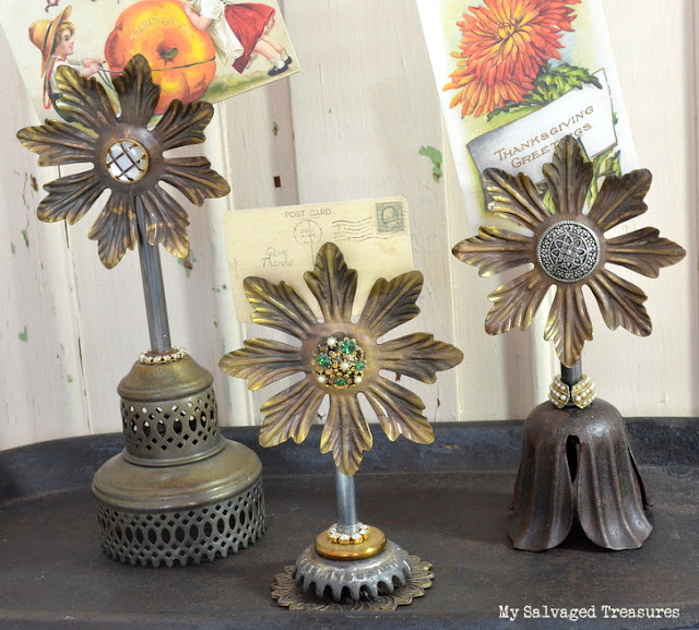 card holders made from vintage lamp parts repurposed junk