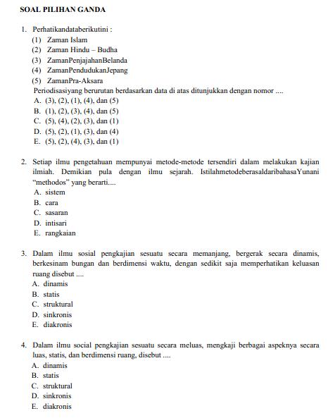 Soal Latihan USBN Sejarah SMA Tahun 2019/2020