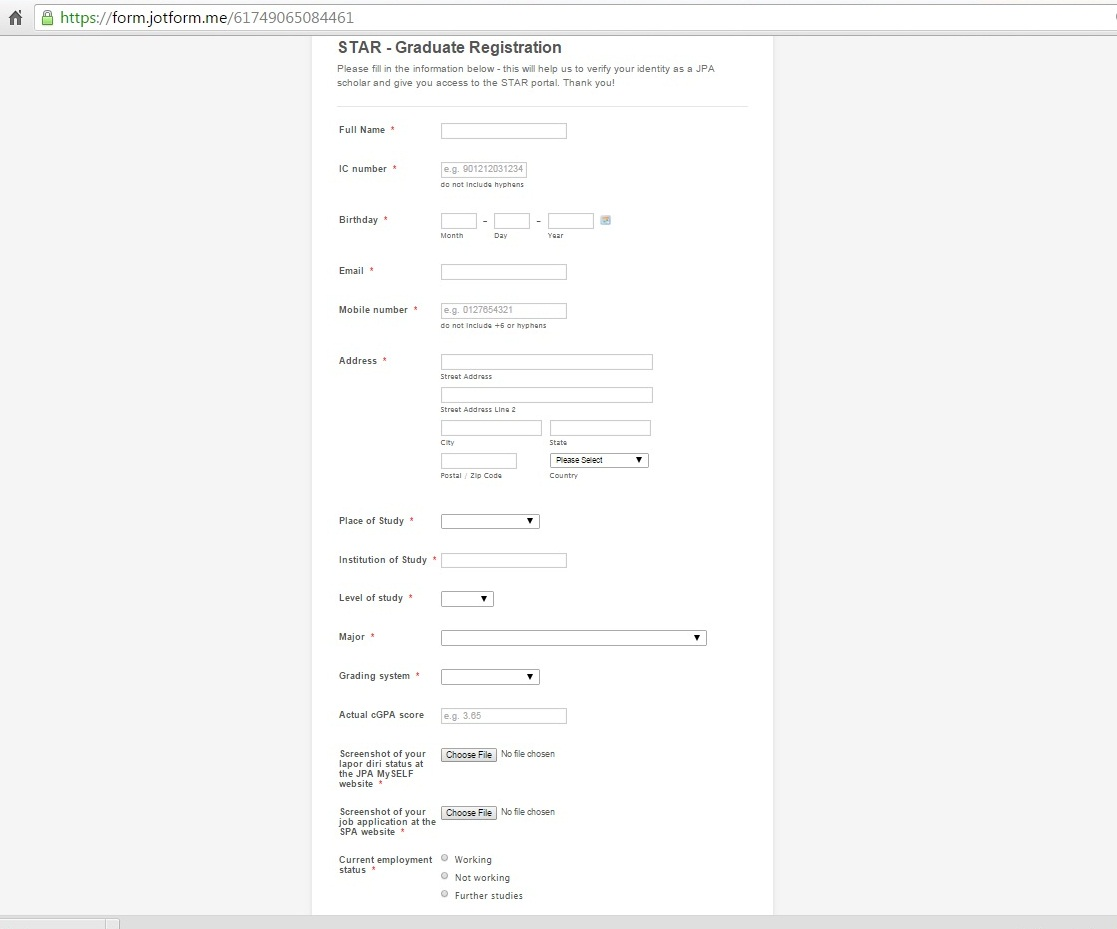STAR 4.0 Template VS Online Form STAR Registration