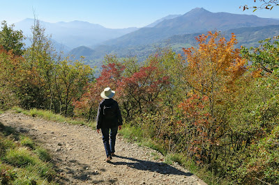 The easy hiking trail on Italy's Pietra di Bismantova in October.