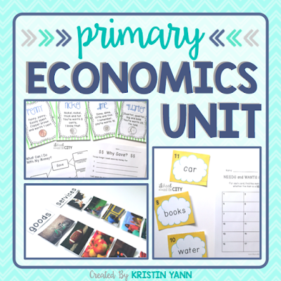 It covers needs and wants, goods and services, & saving and spending. Includes 10 days of lesson plans, all assessments, and a variety of resources. Just add books! Best for grades K-2.
