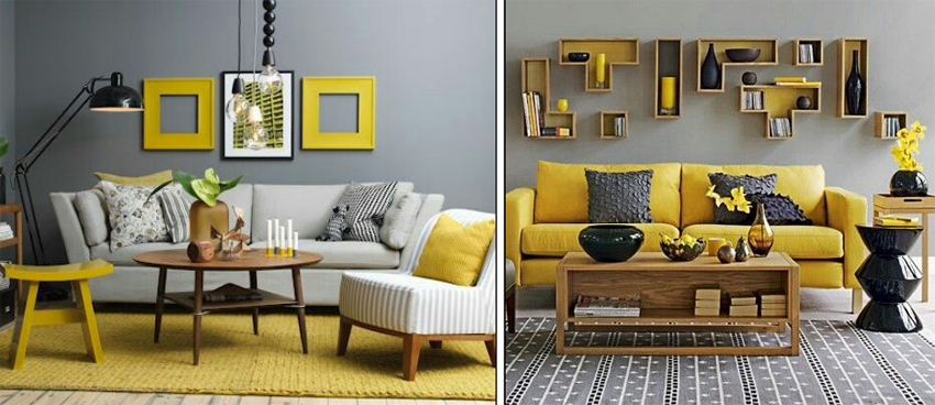 Sala De Estar Cinza Azul E Amarelo ~ Na maioria dos casos as paredes tem tons variados de cinza e o amarelo