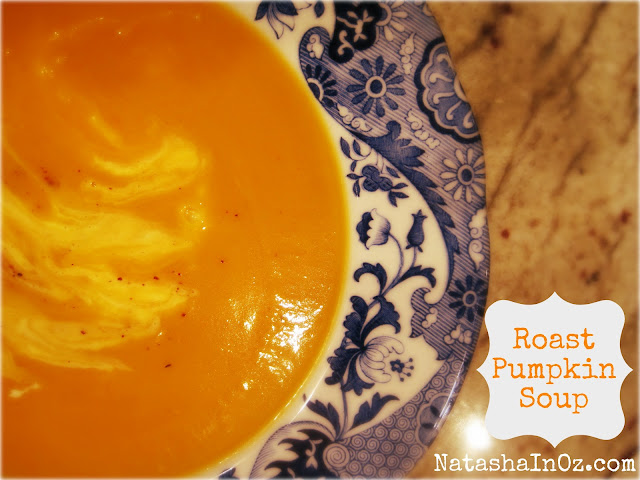 Say G'Day Saturday Linky Party, Roast Pumpkin Soup Recipe, Pumpkin soup image, Natasha in Oz
