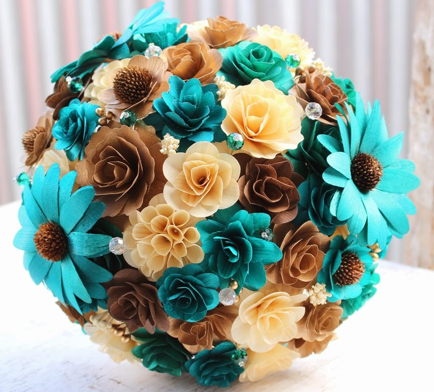 Brown Wedding Flowers: Teal Wedding: Bridal Bouquet Made Of Teal, Brown, Copper