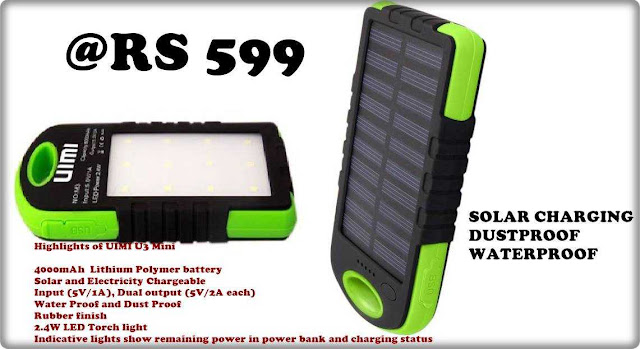 UIMI U3 Mini 4000mAh Waterproof,Solar Charging Power Bank