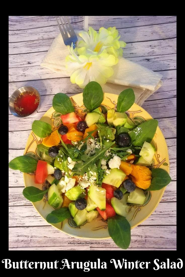 Butternut Squash Arugula Winter Raspberry Salad