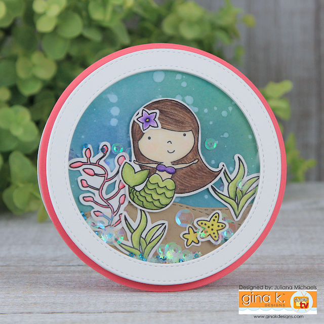Mermaid For You Shaker Card by Juliana Michaels featuring Gina K Designs Stamp Set Vicky Mermaid by Beth Silaika