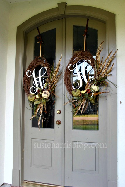 Susie Harris Recycled Monogram Fall Wreath