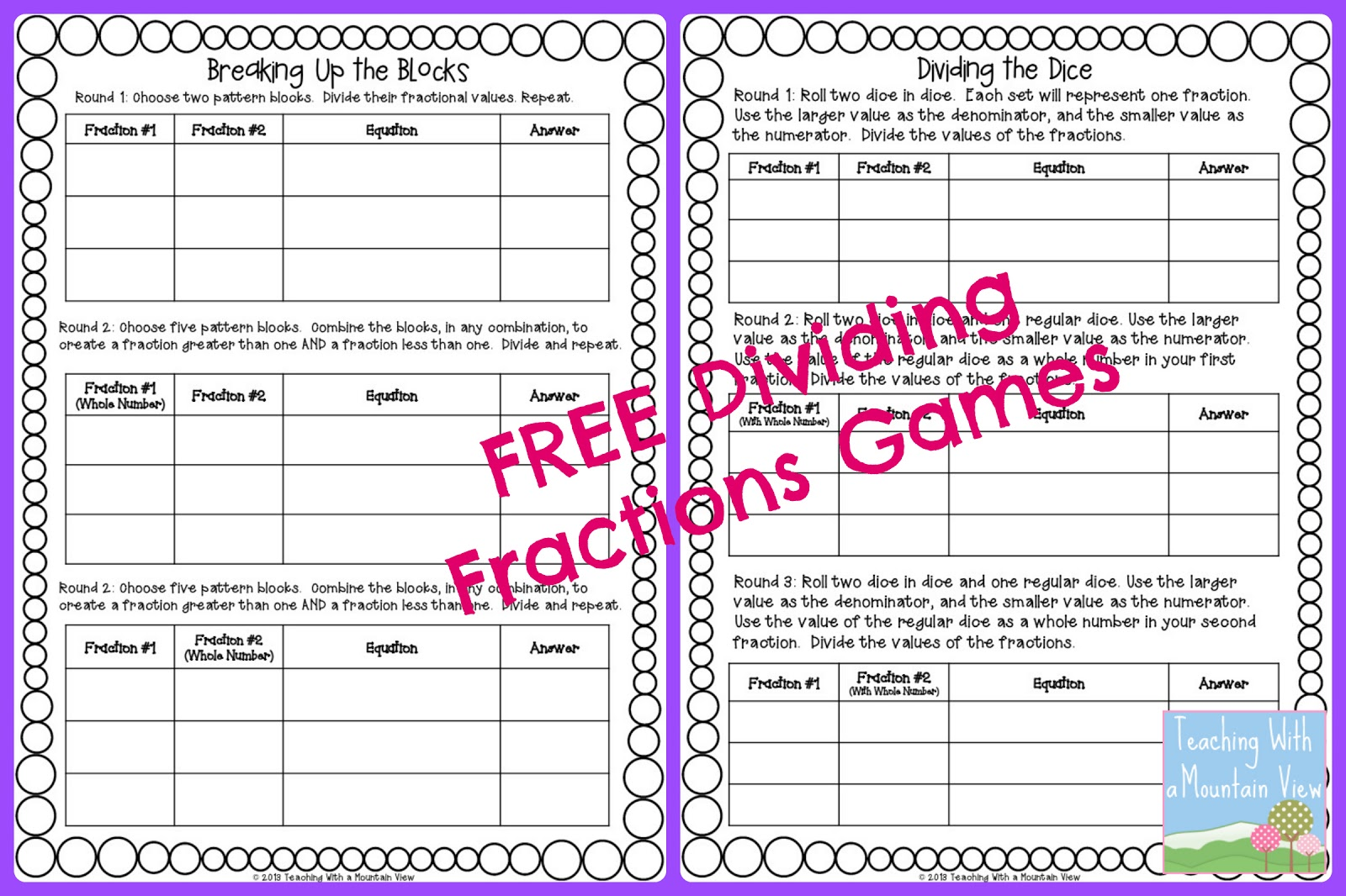 Teaching With A Mountain View Dividing Fractions Anchor Chart Game Freebie And Math Journal