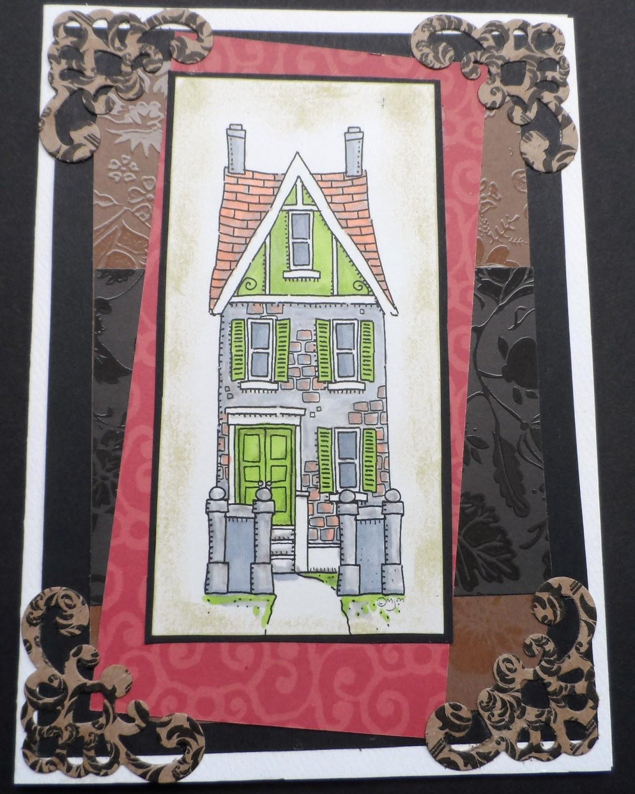 janette fuller handmade tall house greeting card