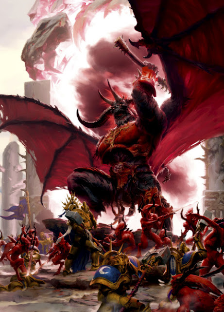 Warhammer age of sigmar epic khorne bloodthirster artwork battle ilustration fantasy 1