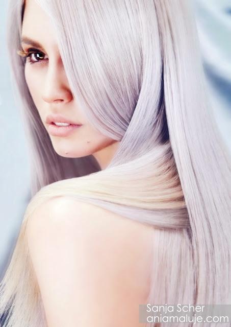 stalowe szare srebrne lawendowe włosy