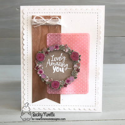 Lovely Amazing You by Becky features Happy Little Thoughts and Frames & Flags by Newton's Nook Designs; #newtonsnook