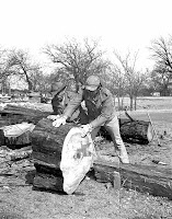 Demonstration of making cypress shingles Kerrville Texas