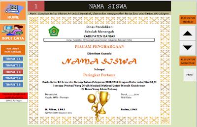 Download Aplikasi Pembuatan Piagam Penghargaan Juara Kelas