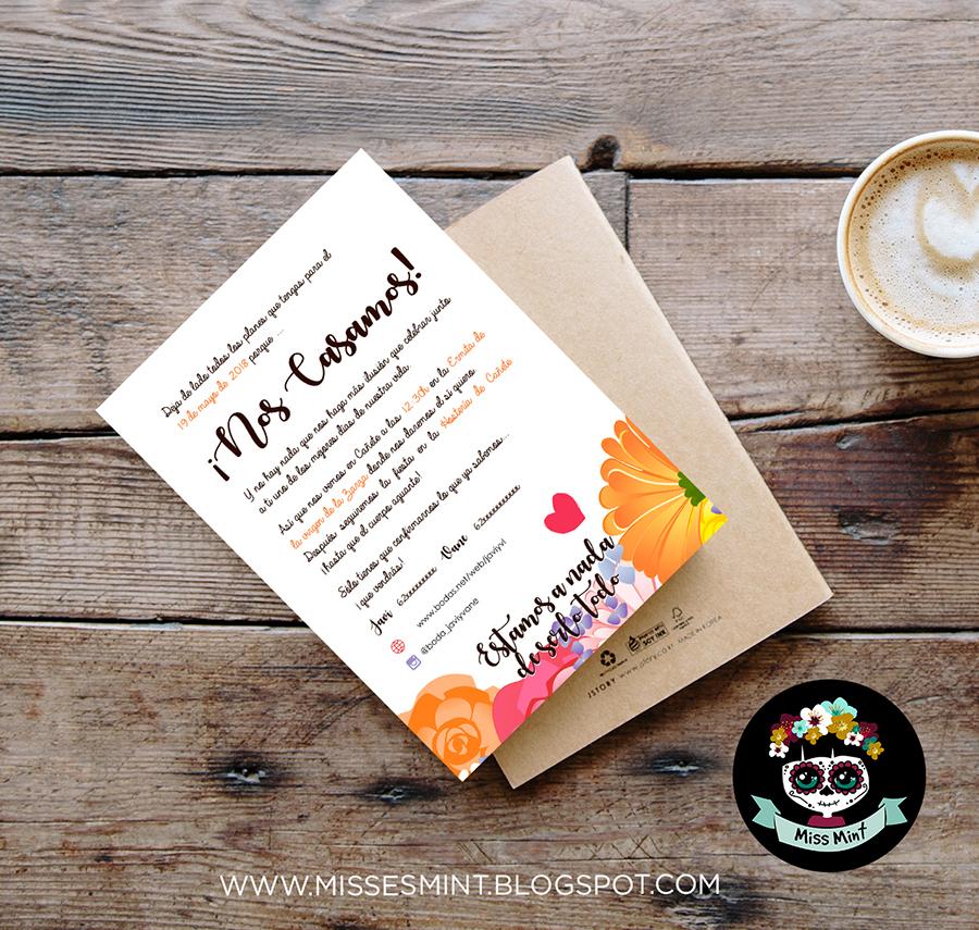 invitaciones de boda personalizadas ilustradas miss mint