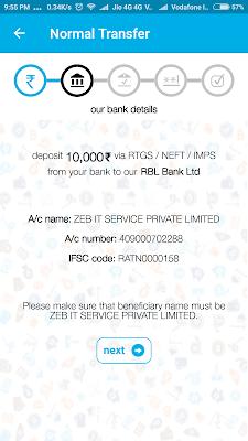 Zebpay पे NEFT / RTGS / IMPS के ज़रिये कैसे पैसे जमा करे