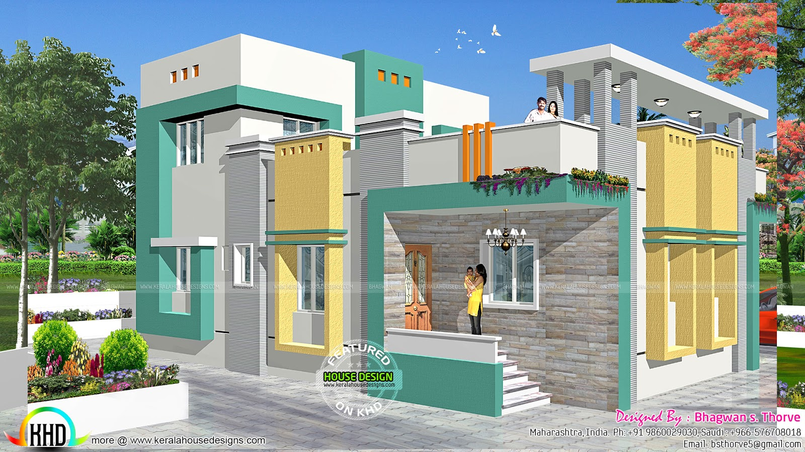 2 bedroom indian home design with plan kerala home for South indian small house designs