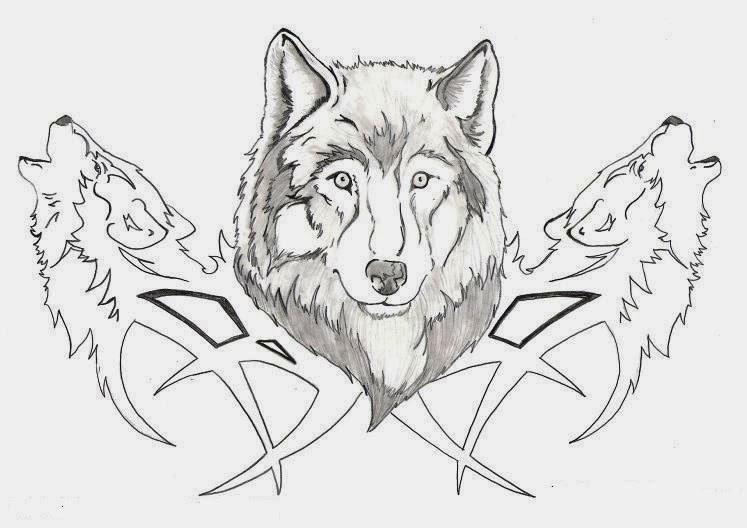 Wolfs heads tribal tattoo stencil