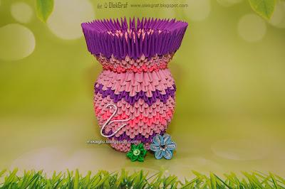 370. Wazon – kielich / 3d origami pink vase