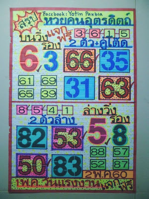 เลขเด่นบน  6  รอง  3 เลขเด่นล่าง  5  รอง  8