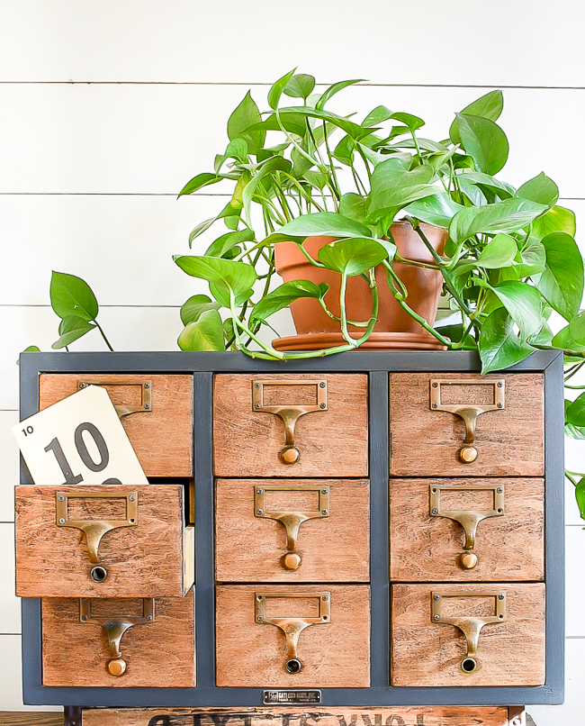 Painted and restored vintage card catalog makeover