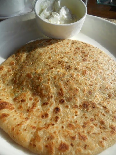 What to eat in Delhi India: cheese filled paratha